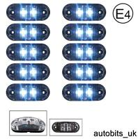 10x Clear White 24v 2 Led Side Front Marker Lamps Lights Truck Lorry E-Mark