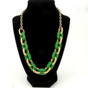 "Vintage Talbots Signed Gold Tone Green Resin Link Necklace 18"""
