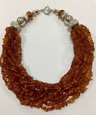 "925 Sterling Silver Baltic Amber Bib Necklace 17.5""NEW"