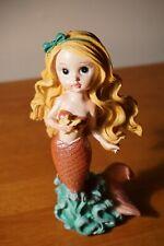 Blonde Mermaid Girl Starfish Wave Statue Sculpture Figurine Beach Home Decor New