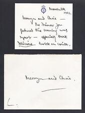 Prince Charles Signed Card to Royal Chefs Mervyn Wycherley & Chris Barber 1992