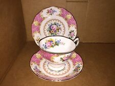 3 Piece Set Royal Albert Lady Carlyle Tea Cup, Demitasse Saucer & Bread Plate