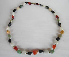 Vintage GemStone Necklace,Multicolored gemstones,Goldtone Seperator Beads