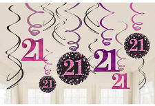 12 x 21st Birthday Hanging Swirls Black & Pinks Party Decorations Age 21 FREE PP
