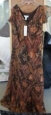 DESIGNER CHARTER CLUB BROWN DRESS PAYSLEY SILK  SIZE 8 PETITE NEW WITH TAGS