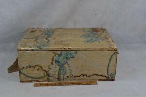 period wallpaper box 18 x 14 x 7 leather hinges 19th c 1800 original
