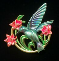 JONETTE JEWELRY JJ  ENAMEL HUMMINGBIRD AND FLOWERS PIN BROOCH