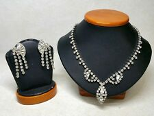 Vintage Weiss Jewelry Crystal Rhinestones Necklace Earrings Set