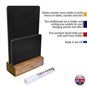 Table top chalkboard -  Free liquid chalk pen - Wooden Menu Holder