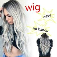 Natural Full Wigs Hair Long Wavy Wig Synthetic Heat Resistant Ombre Silver