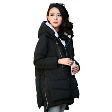 Womens Ladies Quilted Winter Coat Puffer Hooded Jacket Parka New Size M Black