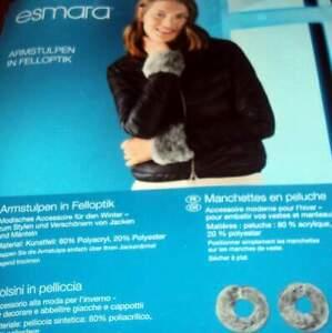 Stulpen Armstulpen grau mit Fellbesatz Webpelz Pelz Glamour Lady Fell
