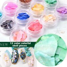 12 Color/Set DIY 3D Shiny Charm Sea Shell Slice Texture Natural Nail Art Decor