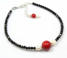 "Black Spinel Coral Bracelet Sterling Silver 3 MM 6.5"" 7.5"" Anniversary Birthday"