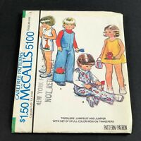McCalls Vintage Sewing Pattern #5100 Toddler Jumpsuit and Jumper Size 1 Uncut
