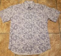 Alan Flusser Blue/White Short Sleeve Shirt Men's Size M Cool Design