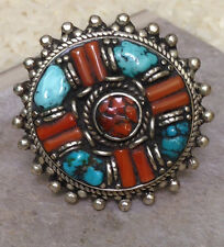 Tibetan Turquoise Coral Silver Round Pointed Ring Size 9,11
