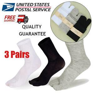 3 Pairs Men Women Tabi Socks Split Sandals Two Toe Flip Flop Ankle-High Socks US