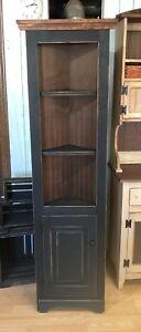"Solid Wood - 18"" Primitive Corner Cabinet Farmhouse Cottage Cupboard Distressed"
