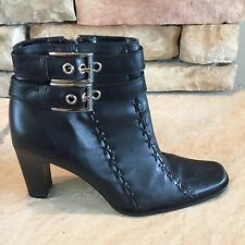 Harley Davidson Black Zip Heel Ankle Boots Buckles Womens US 6 M Sample Project