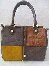 SHARIF GENUINE LEATHER MULTI-COLOR PONY HAIR SATCHEL SHOULDER BAG PURSE - NWT