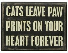 """PBK 4"""" x 3"""" Wood Wooden BOX SIGN """"Cats Leave Paw Prints On Your Heart Forever"""""""