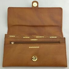 Pure Leather Ladies Travel Organiser Passport Ticket Currency Camel Colour