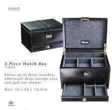 Dulwich Designs Heritage 3 Watch with Cufflink Drawer Box Black 70866