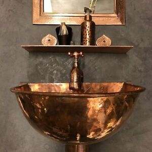 Copper wall mounted basin Sink Vintage sink Handmade artisanal sink-unique sink