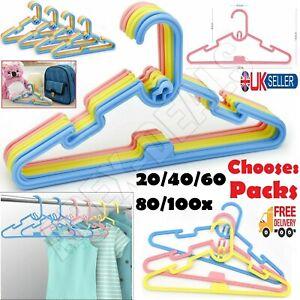20-100pcs Multi Coloured Children KIDS Plastic Coat HANGERS Baby Clothes Hanger