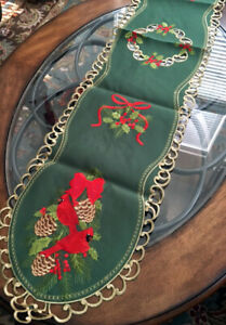 """Christmas Holiday Decor Table Runner Cardinals Pine Cones Embroidered Design 70"""""""