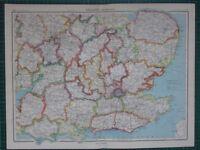 1952 Grande Mappa ~ Inghilterra South-East Oxford London Middlesex Norfolk Kent