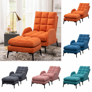 Orthopeadic Armchair Velvet Linen Cushioned Recliner Lounge Chairs Sofa w/ Stool