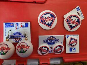 13pc lot Philadelphia Phillies & Eagles plastic Earrings/pins/magnet NEW on card