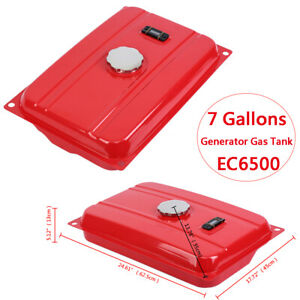 Samger 7 Gallon Red Generator Gas Tank Fuel Filter Cap Gauge Petcock for EC6500