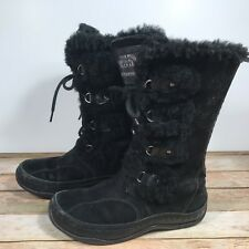 The North Face Abby II Women Black Suede Leather Snow Boots Primaloft 200g Sz 6