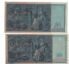 GERMANY Fancy Serial# 88888 Lot of 2 notes x 100 Mark 1910 Pick# 42 XF+ .(#1533)