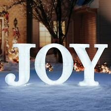 "32"" Tall Christmas Holiday Led Lighted Outdoor Joy Sign Yard Decor ~ Cool White"