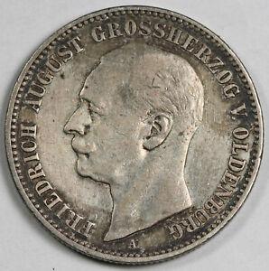 Germany 1901 A Oldenburg 2 Mark Silver Coin XF KM# 202 FRIEDRICH AUGUST