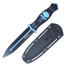 "Tactical Dagger 10.25"" Overall Black Light Blue Skull Combat Boot Knife + Sheath"