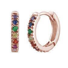 Rose Gold Plated Sterling Silver & Rainbow Crystal Huggie Hoop Earrings
