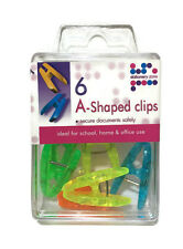6 A Shaped Paper Clips Coloured Stationery School Home Office Document Memo Note
