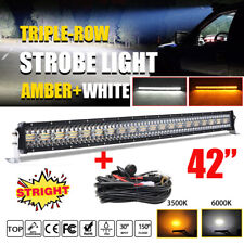 12D 42 Inch 3200W LED LIGHT BAR Spot Flood Beam Amber White OFF ROAD Truck 44""