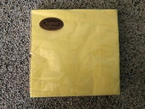 NIP! 20ct Caspari Grosgrain Yellow Paper Napkins Buffet 6.5 by 6.5