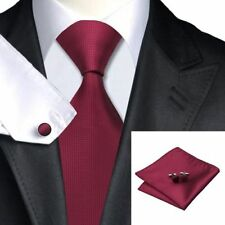 Mens Burgundy Red Squares Silk Woven Tie+Hanky & Cuflinks Matching Set 156