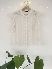 Zara Broderie Anglaise Lace Blouse Top XL White Frill Shirt 14 16 Cotton Summer