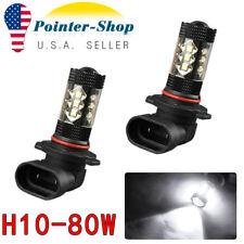 2x NEW White H10 9140 9145 High Power 80W LED Car DRL Fog Driving Light Bulbs