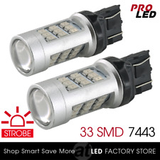 2X 7443 Red LED Flash Strobe Blinking Alert Safety Brake Tail Stop Light Bulbs