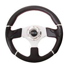 NRG ST-008R Sport Leather Steering Wheel Evo Style Black w/Red Trim 320mm