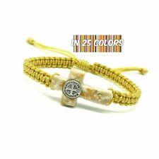 St Benedict Cross Bracelet Medjugorje Stone Handmade Unique Christian Bracelet